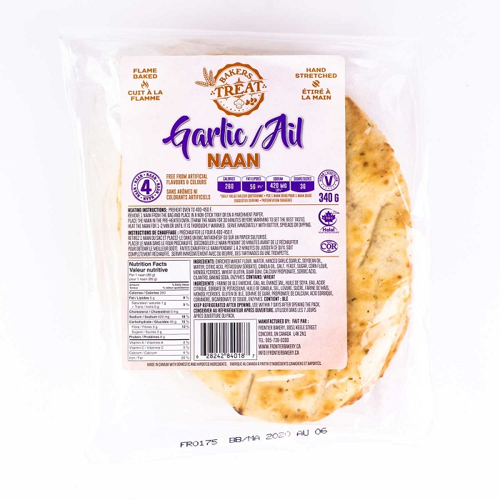 BAKER'S TREAT Garlic Naan (4*85gm)
